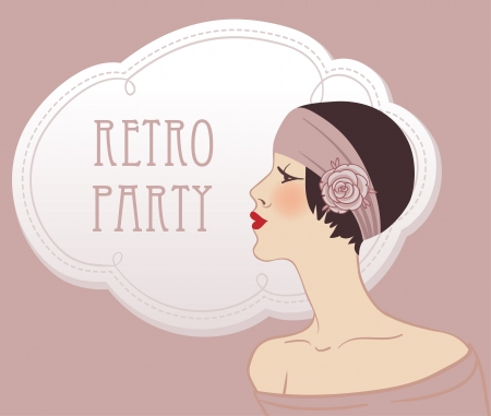 Flapper girl  Retro party invitation design illustration  Vector