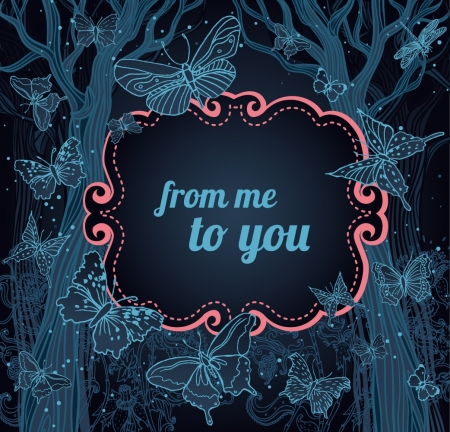 dark forest: Magical night background with trees, stars and butterflies. A place for your text.