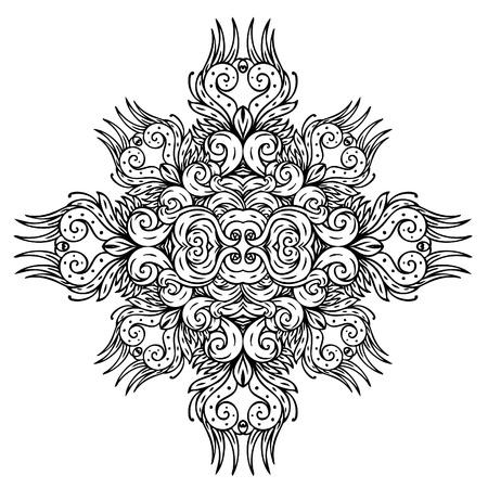 wallflower: Vector black retro floral pattern on white