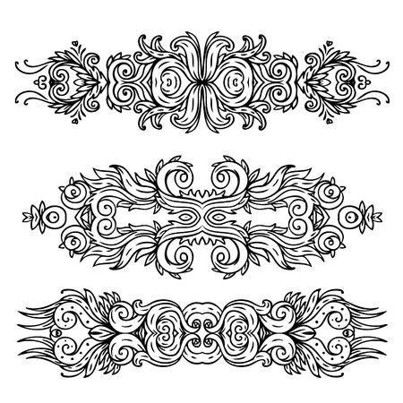 Vector set of vintage floral pattern design elements Vector
