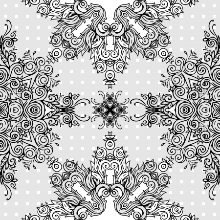 Ornate abstract lace seamless pattern. Vector background.  Illustration
