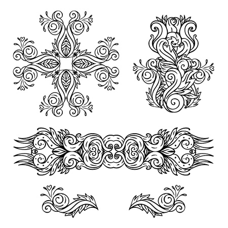 ornamental scroll: Vector set of vintage floral pattern design elements