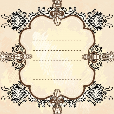 steampunk: Drawn industrial steampunk style frame  Illustration
