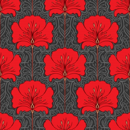 Colorful seamless pattern with red flowers on gray background. Art nouveau style.