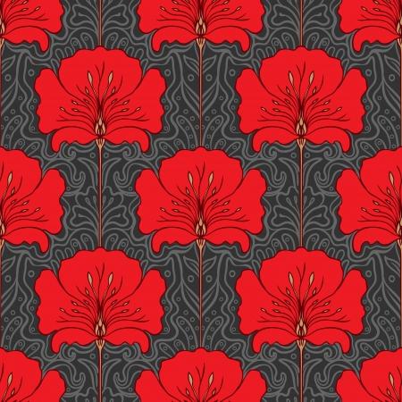 art nouveau: Modello senza saldatura colorato con fiori rossi su sfondo grigio. Stile art nouveau.