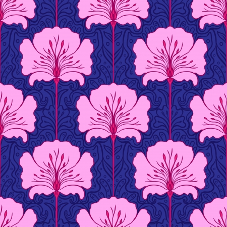 Colorful seamless pattern with pink flowers on blue background. Art nouveau style.  Vector
