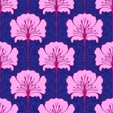 stile liberty: Modello senza saldatura colorato con fiori rosa su sfondo blu. Stile art nouveau.