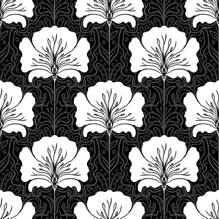 oldened: Black and white seamless pattern with white flowers on black background. Art nouveau style.