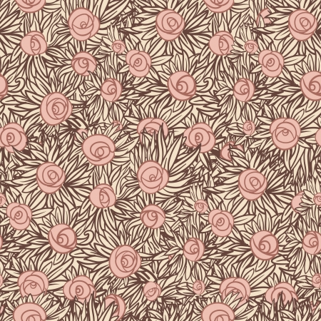 Artistic Seamless pattern with flowers (roses), vector floral illustration in vintage style
