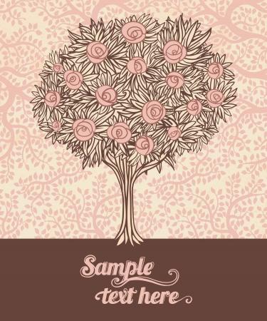 bağbozumu: Gül ile eski ağaç. Şık vektör tasarım Çizim