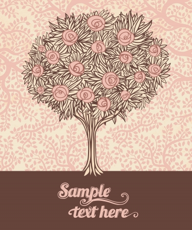 composition art: Vintage tree with roses. Stylish vector design