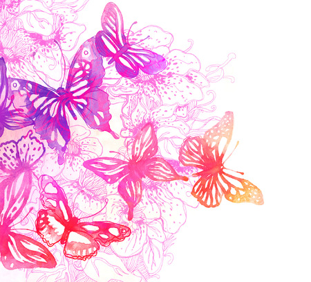 Amazing butterflies and flowers painted with watercolors  Stock Photo