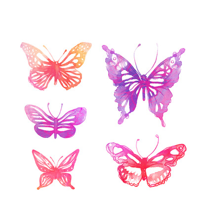 pink butterfly: Amazing watercolor butterflies set isolated on white
