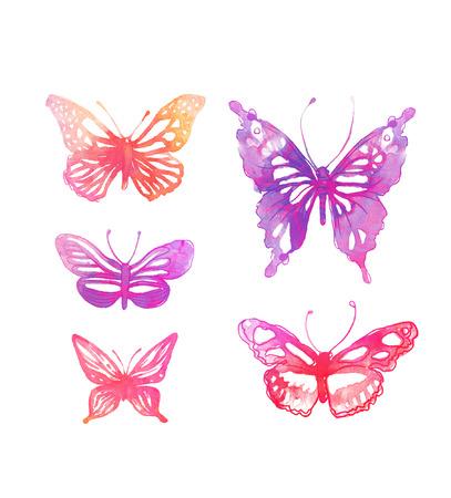 papillon rose: Papillons étonnants aquarelle ensemble isolé sur blanc Banque d'images