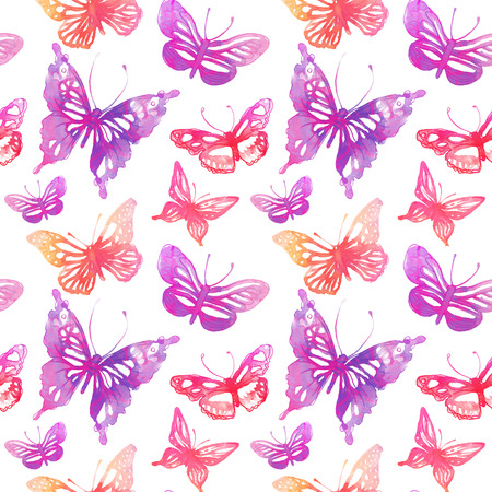 pink butterfly: Amazing butterflies and flowers painted with watercolors. seamless pattern.