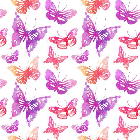 papillon rose: Papillons et des fleurs étonnantes peints à l'aquarelle. seamless.