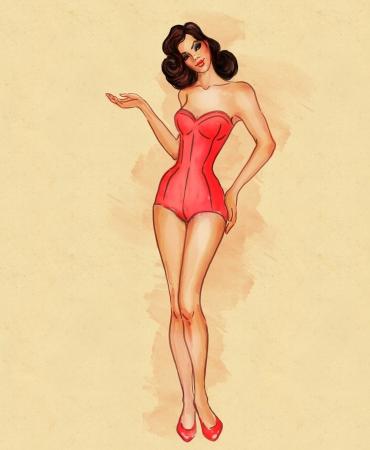 donne brune: Bella retro ragazza pinup sexy in costume da bagno mostrando qualcosa di illustrazione Archivio Fotografico