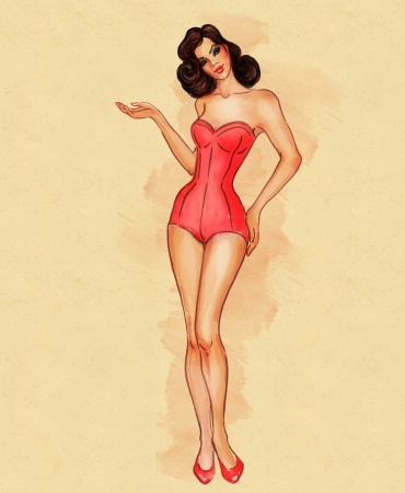 femme brune: Tr�s r�tro fille de pin-up sexy en maillot de bain affichant quelque chose Illustration