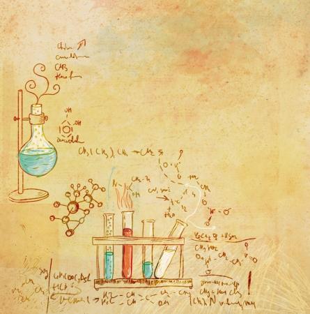 destilacion: Laboratorio de química vieja de estilo vintage