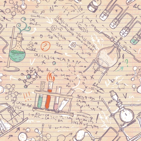 distillate: Old chemistry laboratory seamless pattern in vintage style