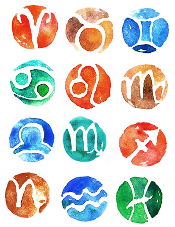 Watercolor zodiac signs icon set Stock Photo
