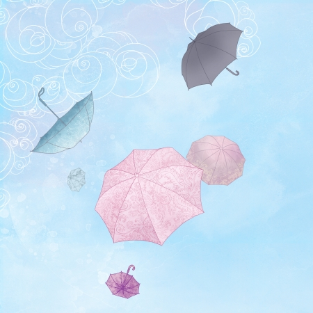 easiness: Illustration  of six rainbow umbrellas flying in a blue sky Stock Photo