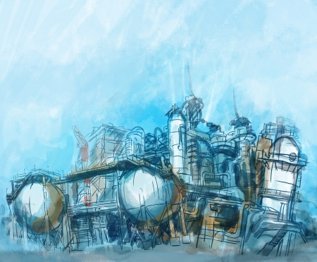 burner: Industrial Buildings illustration of plant or factory.  Stock Photo