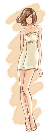 Watercolor Illustration of a sexy girl wrapped in towel  illustration