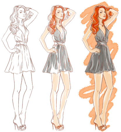 패션 수채화 그림 만들기 (모델, 빨간 머리 여자가 그녀의 머리를 터치)