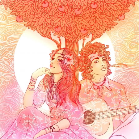 hippie woman: Couple of a hippy on a sunny afternoon illustration  Stock Photo