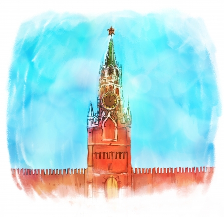 Russia: Moscow Kremlin watercolor  illustration  illustration