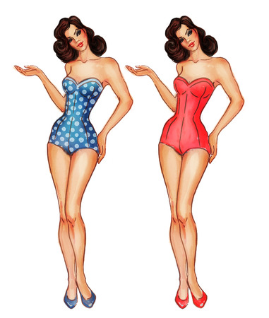 vintage woman: Set of two pretty retro sexy pinup girls in swimsuits displaying something Stock Photo