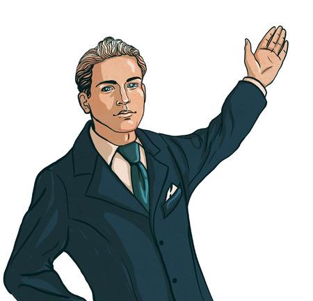 traje sastre: Hermoso hombre en traje de negocios muestra la producci�n industrial