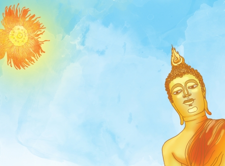 Illustration of buddha statue against a blue sky and sun illustration
