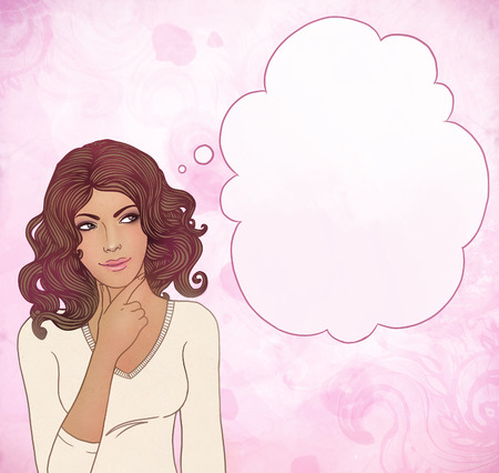 hoping: Beautiful woman with blank thought bubbles on watercolor pink background