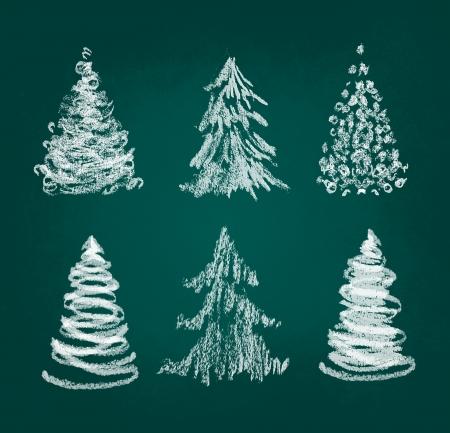 christmas watercolor: Christmas tree hand drawn set