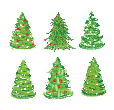 Christmas tree hand drawn set  photo
