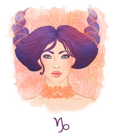 capricornio: Ilustración de Capricornio signo astrológico como una muchacha hermosa. El arte de la acuarela. Foto de archivo