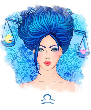 美しい少女としての天秤座星座の図