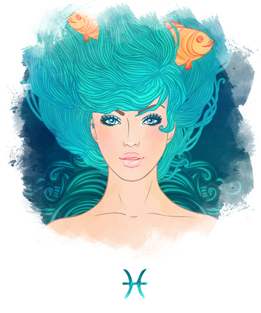 pisces sign: Illustration of Pisces astrological sign as a beautiful girl