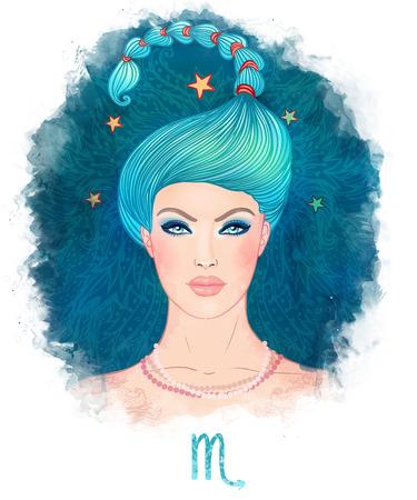 escorpio: Ilustración de Escorpio signo del zodiaco como una muchacha hermosa. Ilustración Watecolor. Aislado en blanco.