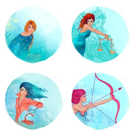 escorpio: Muchachas del zodiaco fijados: Virgo, Libra, Escorpio, Sagitario