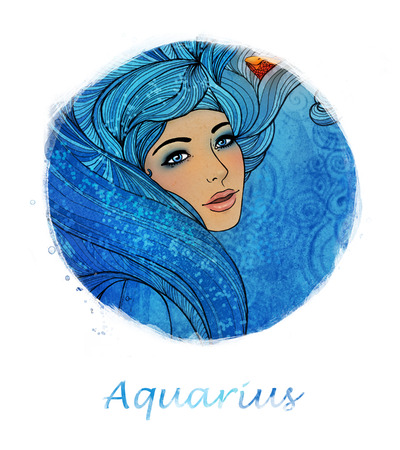 Illustration of aquarius zodiac sign as a beautiful girl  Stock Photo