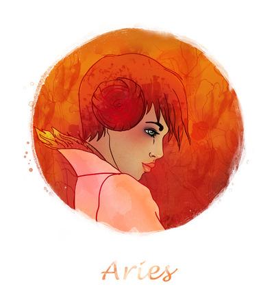 braiding: Illustration of aries zodiac sign as a beautiful girl