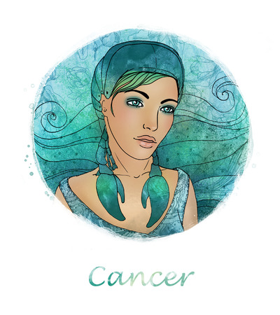 Illustration of cancer zodiac sign as a beautiful girl  illustration