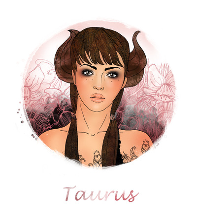 Illustration of taurus zodiac sign as a beautiful girl