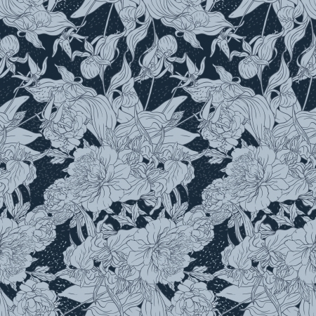 Seamless pattern with flowers peonies Vector