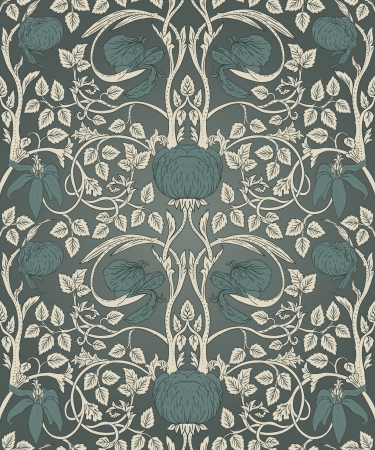 Seamless pattern with flower floral illustration in vintage style  Illustration
