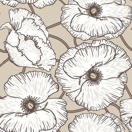 Elegance Seamless pattern with poppy flowers floral illustration in vintage style  Vector