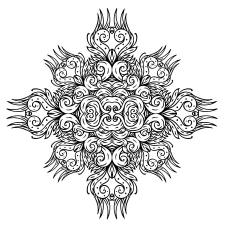 wallflower: black retro floral pattern on white Illustration